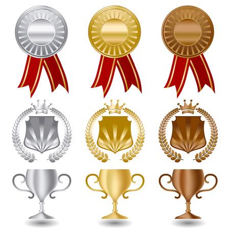 trophy award: Oro Plata y bronce medallas de conjunto  Vectores