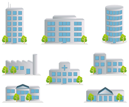 office building exterior: Building icons set. Architectures image