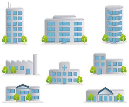 épület: Building icons set. Architectures image