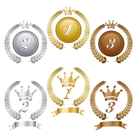 conquistando: Medallas de Oro Plata y bronce  Vectores