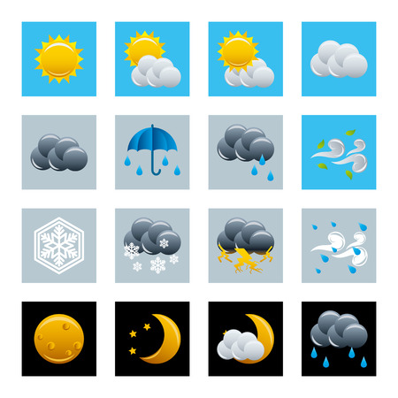 Weather icons set. Stock Vector - 7393827