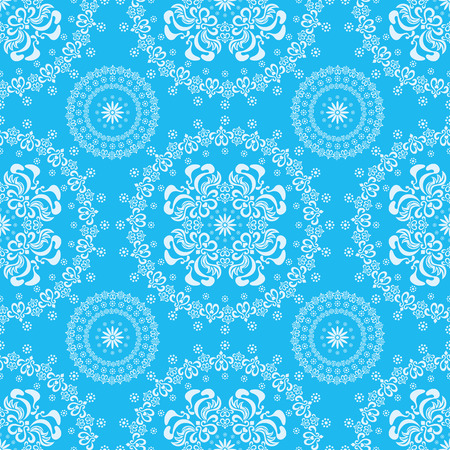 blue damask: Abstract seamless floral blue background Illustration