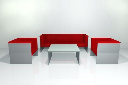 Red sofa set photo