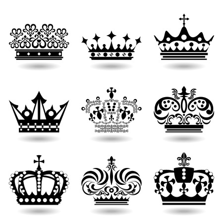 couronne royale: 9 crown icons set. Illustration vector.