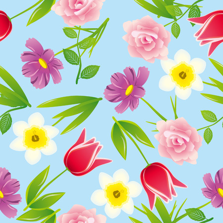 cosmos: Seamless flower pattern