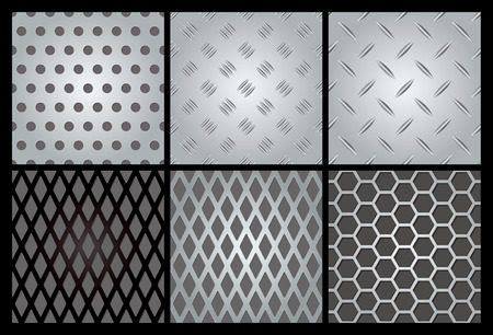 Metal texture 6 set.  Vector