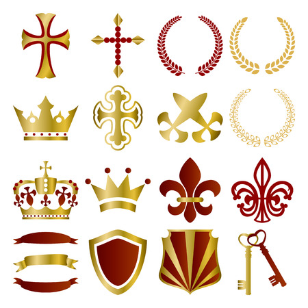leadership key: Gold and red ornaments set. Illustration
