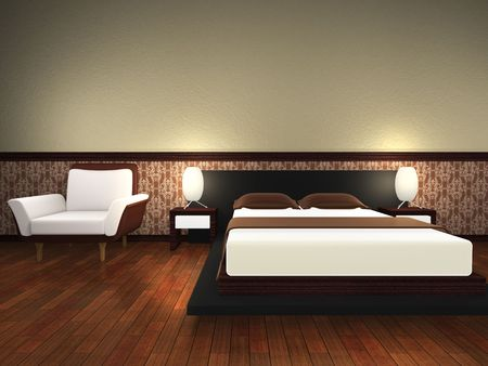 bedchamber: Modern bed room. 3d render.