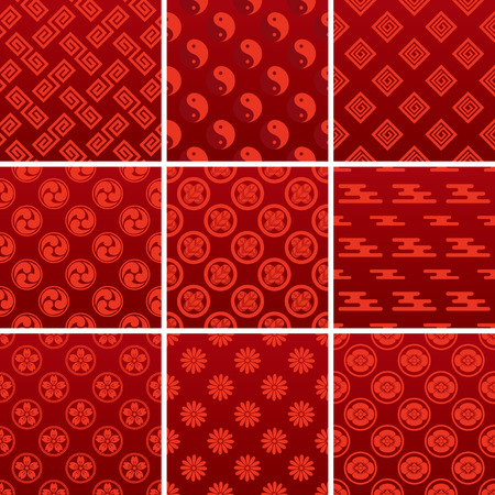 Japanese traditional red pattern Stock Vector - 7495858