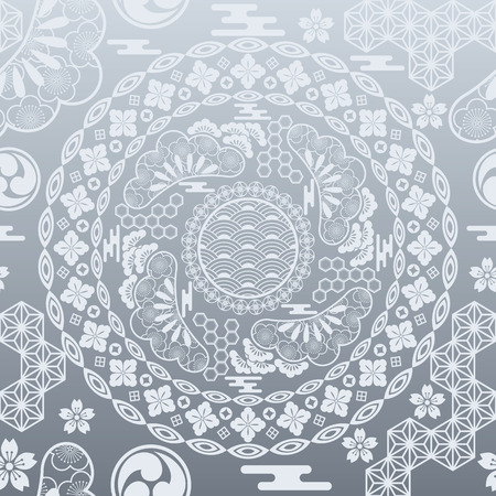 Seamless Japanese modern silver background. Illustration  Vector