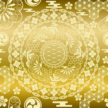 victorian anniversary: Seamless japanese modern gold background. Illustration