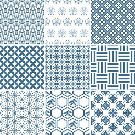 Japanese traditional pattern set. Illustration  Illustration