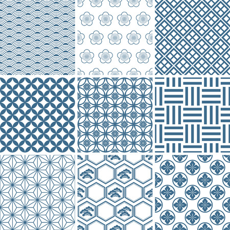 tile pattern: Japanese traditional pattern set. Illustration  Illustration