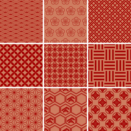 Japanese Traditional Red Pattern Set   イラスト・ベクター素材
