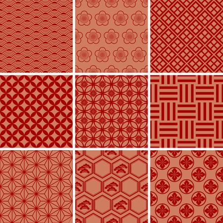 Japanese Traditional Red Pattern Set  Illustration