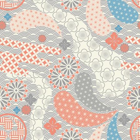 シームレスな日本スタイルのパターン。イラスト ベクトル。  イラスト・ベクター素材
