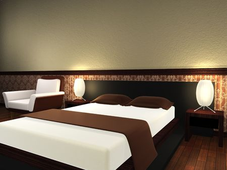 Modern bed room. 3d render. Stock Photo - 7507136