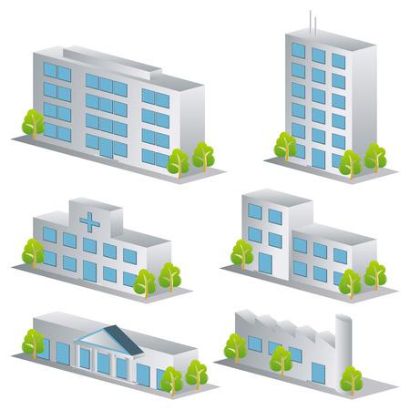 3d 건물 아이콘을 설정합니다. 아키텍처 이미지 일러스트