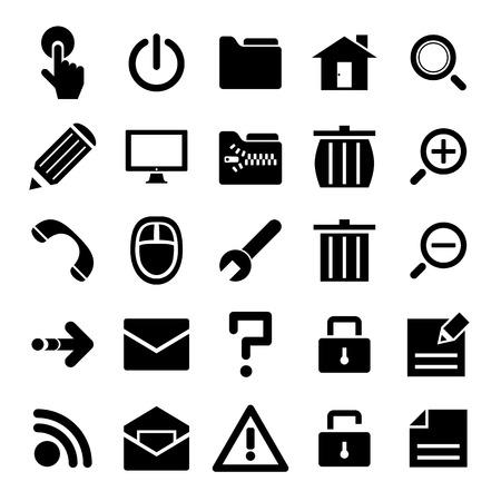 mail service: Black internet icons set. Illustration vector.