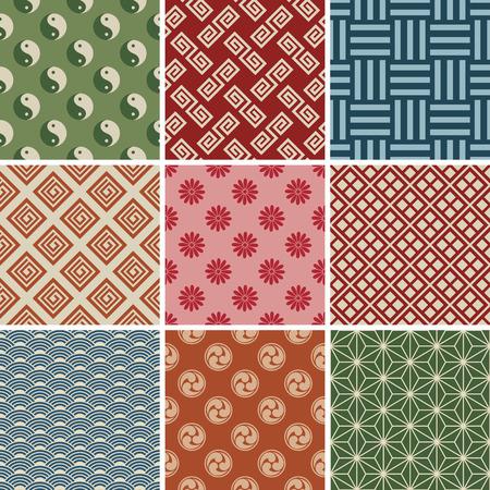Seamless Japanese Traditional Pattern Set.