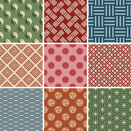 Seamless Japanese Traditional Pattern Set.  Vector