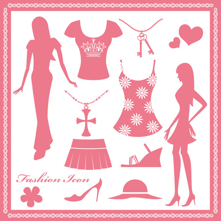 Women fashion icons set Vector