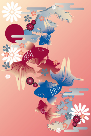 chinese new year card: Goldfish  Illustration