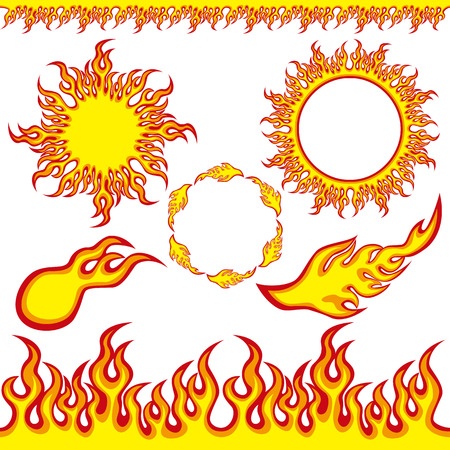 Fire elements. Illustration vector.