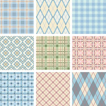 Seamless Check Pattern Set. Illustration vector.