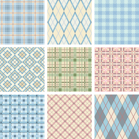mod: Seamless Check Pattern Set. Illustration vector.