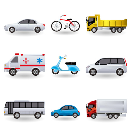 dump truck: Realistic transportation icons set. Illustration Illustration