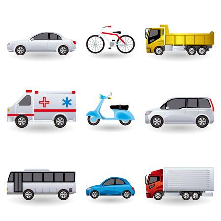 vespa piaggio: Set di icone di trasporto realistico. Illustrazione