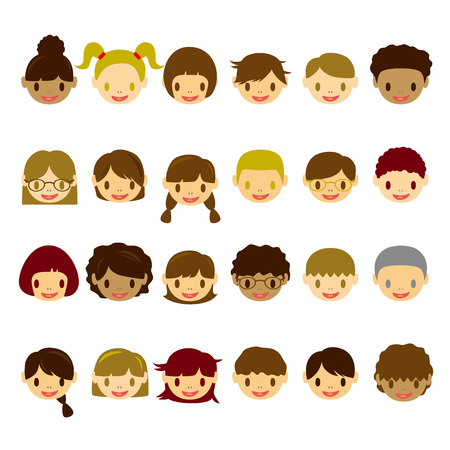 black boy: Kids Face Icons Set Illustration