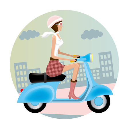 Vespa Girl  Stock Vector - 7775327
