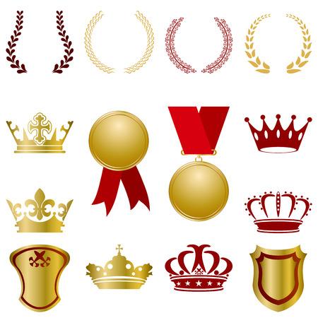 trono real: Conjunto de adornos de oro y rojos. Ilustraci�n