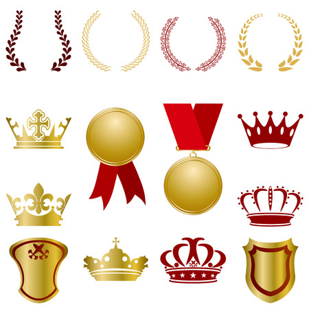 Gold and red ornaments set. Illustration Vector