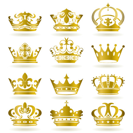 Gold crown icons set. Illustration