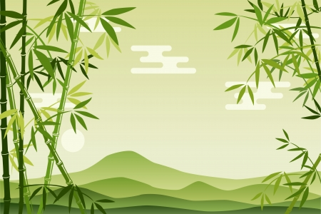 shoots: Abstract Green Bamboo Background. Illustration