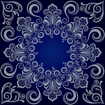 Mandala blue background. Illustration