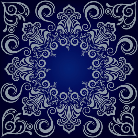 Mandala blue background. Illustration