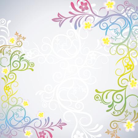 Colorful floral frame. Illustration   Vector