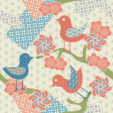 Abstract seamless japanese pattern. Illustration