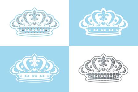Blue decoration tiara. Illustration Vector