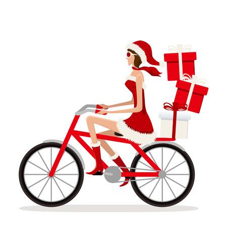 自転車のサンタ女の子。図  イラスト・ベクター素材