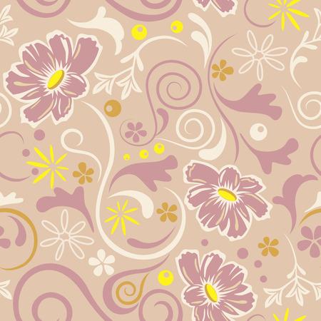 抽象的なシームレスな花柄。図