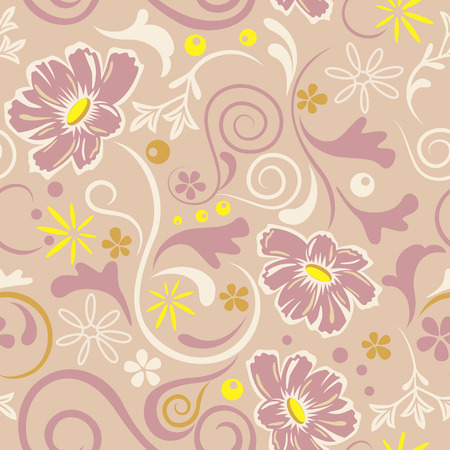 textile image: Abstract seamless floral pattern. Illustration
