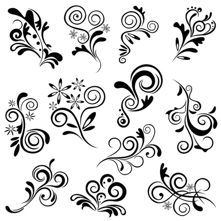 Floral element set. Illustration  Stock Vector - 7983182