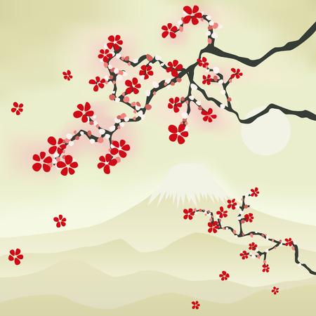ciruela: Flor de cerezos japoneses. Ilustraci�n