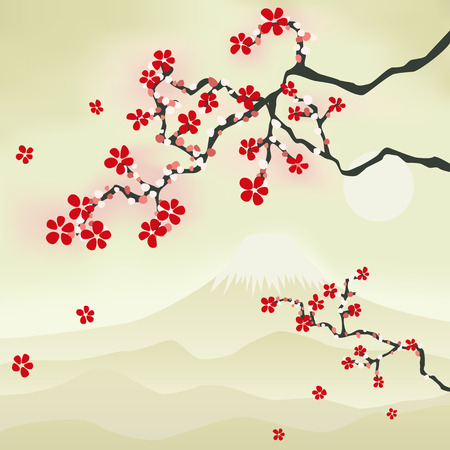 Japanese Cherry Blossom. Illustration Vector