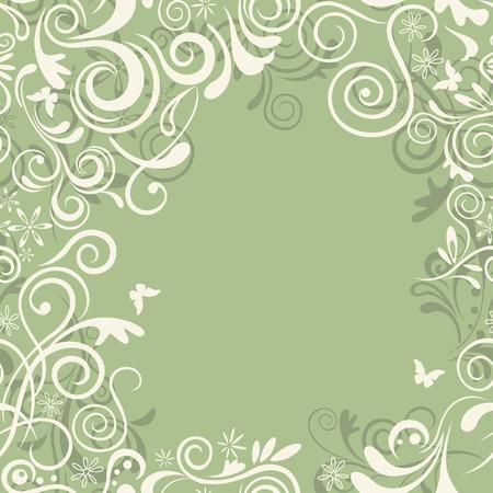 抽象的なシームレスな緑の花フレーム。図